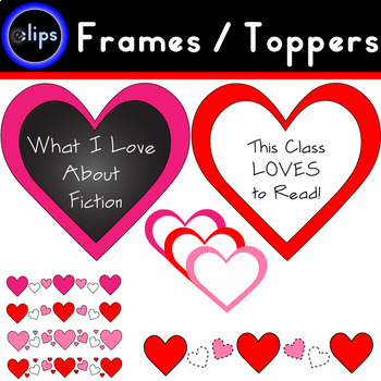 Valentine's Frames and Toppers Hearts Red Pink White