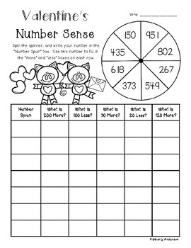 Valentine's Friends Number Sense / Mental Math Spinners (More/Less)