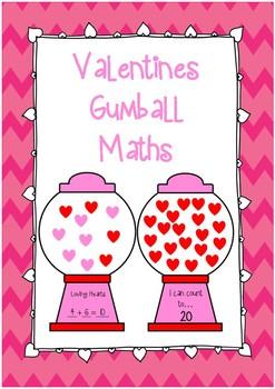 Valentine's Heart Gum ball Math Craftivity