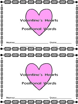 Valentine's Heart Positional Words Booklet