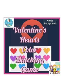Valentine's Hearts Color Matching Game (White Background)