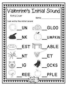 Valentine's Initial Sound Roll & Cover