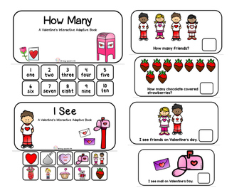 "Valentine's Interactive Adaptive books set of 2 (""I See and ""How Many?)"