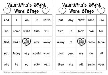 Valentine's Kindergarten Sight Words Bingo