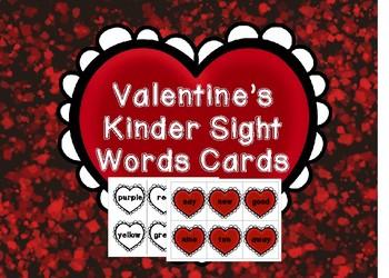 Valentine's Kindergarten Sight Words Flash Cards