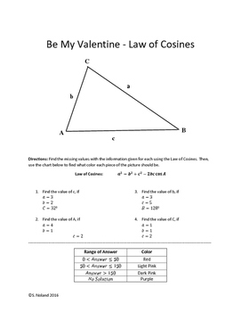 Valentine's - Law of Cosines - Color By Number