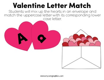 Valentines Letter Match Packet by Ready Reading Resources  TpT
