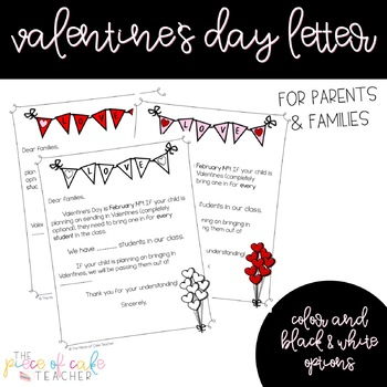 Valentine Letter To Parent Teaching Resources  Teachers Pay Teachers