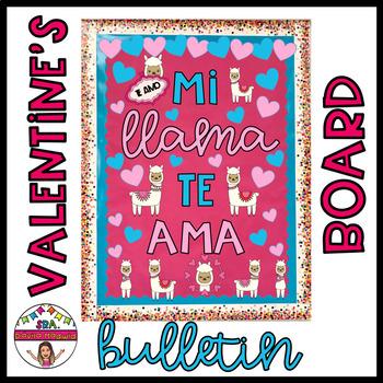 Valentine's Llama Bulletin Board - English & Spanish