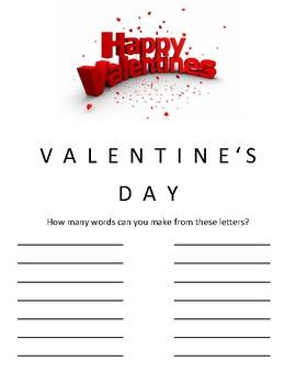 Valentine's Make Words Game