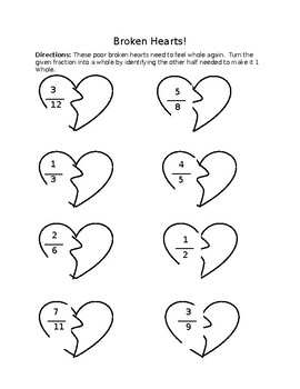 Valentine's Make a Whole- Fractions