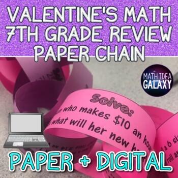 Valentine's Math 7th Grade Review Paper Chain