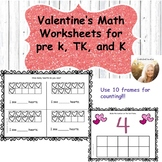 Valentine's Math Activities for Pre k, Transitional Kinder