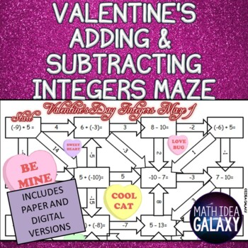 Valentine's Day Adding Integers Activity: Maze Game