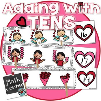 Love20 Valentine S Math Activity Adding On To 10 Center Kinder 1st