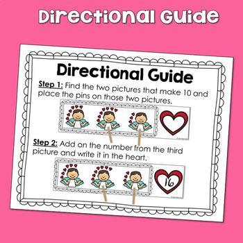 #love20 Valentine's Math Activity Adding on to 10 Center KINDER & 1st Grade