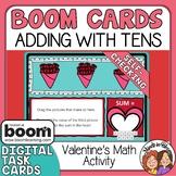 Valentine's Math Activity BOOM CARDS Adding on to 10 Cente