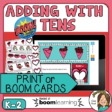 Valentine's Math Activity BOOM CARDS Adding on to 10 Cente