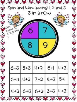 Valentine's Math Games for grades 1, 2, and three, 19 gameboards, 6 wksheets