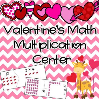 Valentine's Math Multiplication Puzzle Center