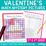 Valentine's Math Mystery Pictures | Fractions Decimals Order of Operations