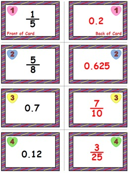 Valentine's Math Skills & Learning Center (Converting Fractions to Decimals)