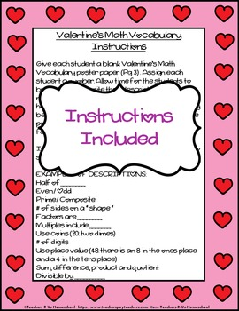 Valentine's Math Vocabulary Poster for Students to Create