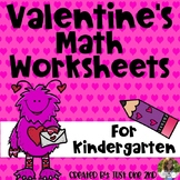 Valentine's Math Worksheets for Kindergarten