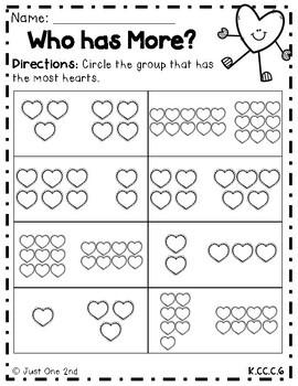 Valentine's Math Worksheets for Kindergarten