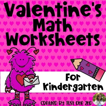 valentines math worksheets for kindergarten by just one nd  tpt valentines math worksheets for kindergarten
