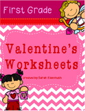 Valentine's Math and ELA Worksheets First Grade