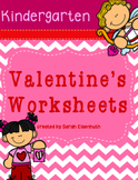 Valentine's Math and ELA Worksheets Kindergarten