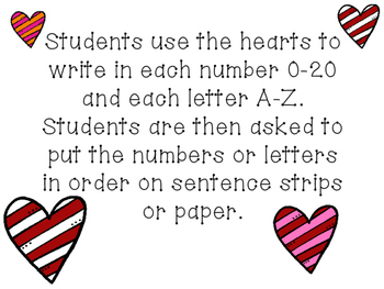 Valentine's Math and Literacy Center No Color INK!