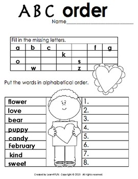Valentine's Math and Literacy Packet