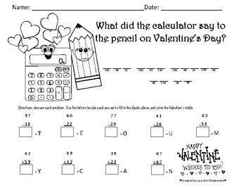 Valentine's Math with a Message Addition and Subtration
