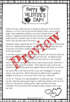 Valentine's Maths and English Pack (Comprehension, word problems, Co-ordinates
