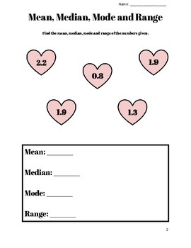 Valentine's Mean, Median, Mode and Range