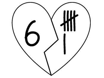 Valentine's Mending Broken Hearts Matching Numbers