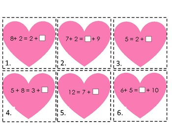 Valentine's Missing Number Scoot (Addition)