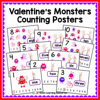 Valentine's Monsters Counting Posters