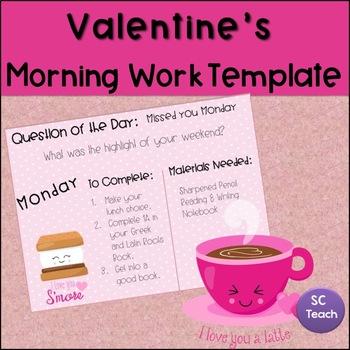 Valentine's Morning Work Template