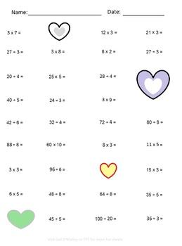 Valentine's Multiplication & Division Practice 2