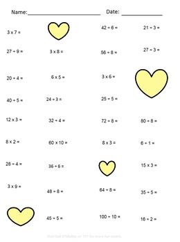 Valentine's Multiplication & Division Practice