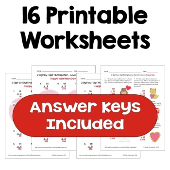 Valentine's Multiplication Worksheet Bundle (3 Levels PLUS Word Problems)