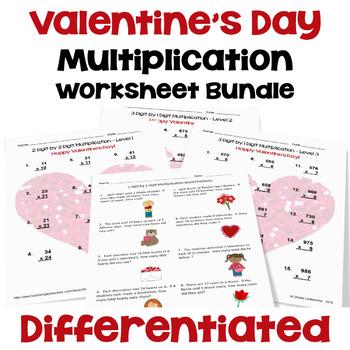 Valentine's Multiplication Worksheet Bundle (3 Levels PLUS