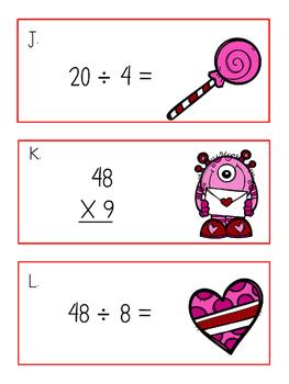 Valentine's Multiplication and Division Scavenger Hunt