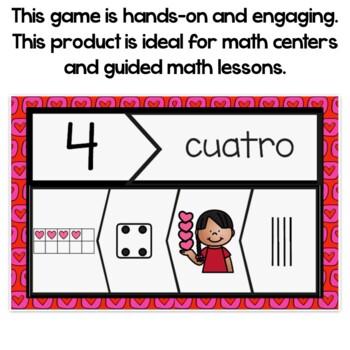 Valentine's Number Sense Puzzles In Spanish 1-20