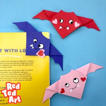 Valentine's Origami Bat - Simple STEAM Valentine's Day Activity (Symmetry)
