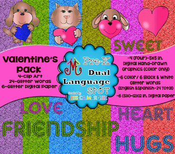 Valentine Pack Graphics for Primary Grade MATH & LITERACY Centers Creations