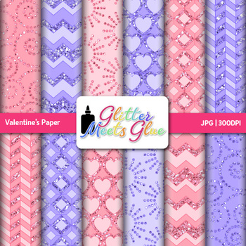 Valentine's Paper   Scrapbook Backgrounds for Worksheets and Resources